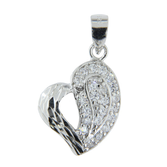 Sterling Silver .925 Hearts C.Z Pendant
