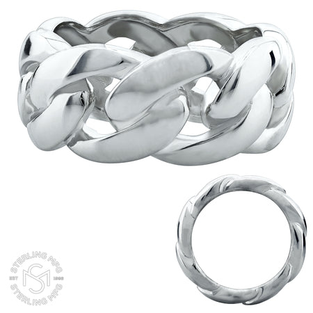 Stainless Steel Cuban Link Eternity Ring