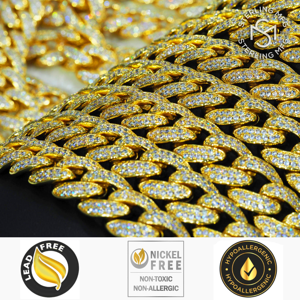 Premium 18KT Gold Electroplated Jeweler's Alloy Heavy Solid Miami Cuban Link Chain with Cubic Zirconia Stones. Secure Box Lock.
