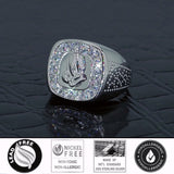 Sterling Silver .925 Praying Hands C.Z Ring