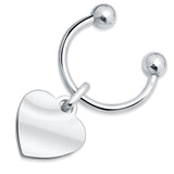 Sterling Silver .925 Heart Shaped Horseshoe Keychain