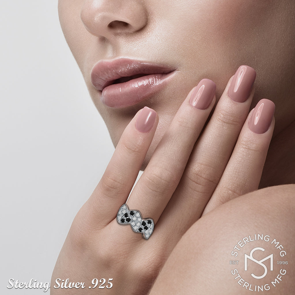 Sterling Silver .925 Black and Clear C.Z Ring