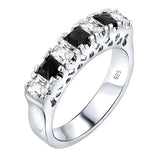 Sterling Silver .925 Black and White C.Z Tennis Ring