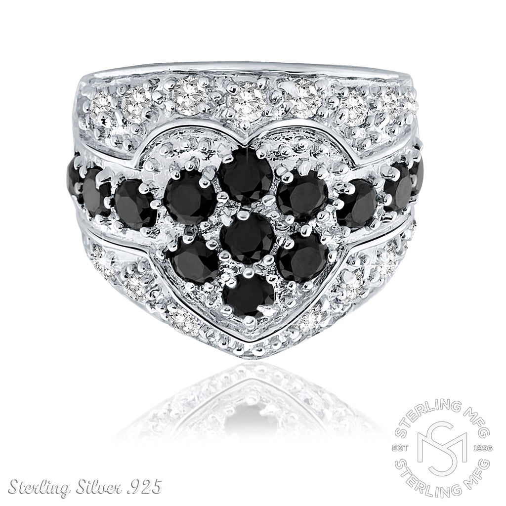 Sterling Silver .925 Black and White Flower Heart C.Z Ring