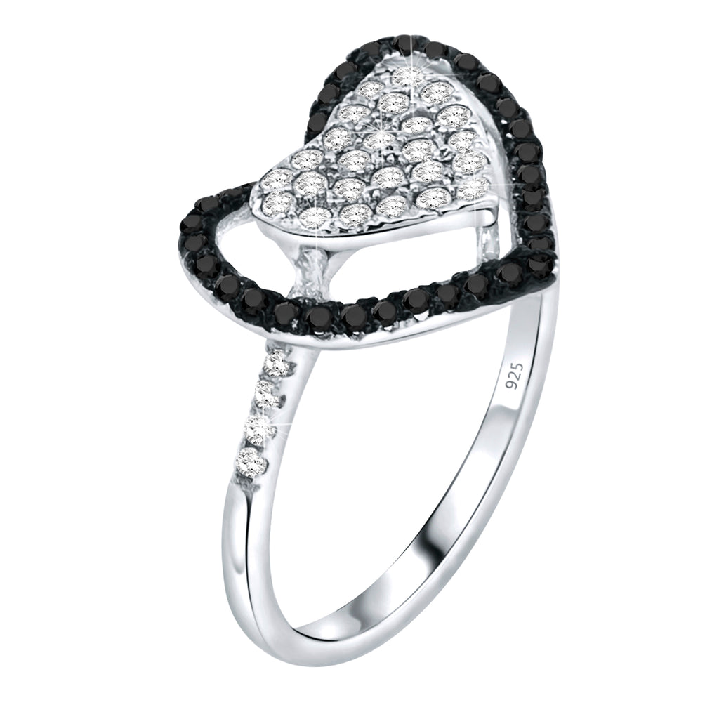 Sterling Silver .925 Black and White C.Z Heart Ring