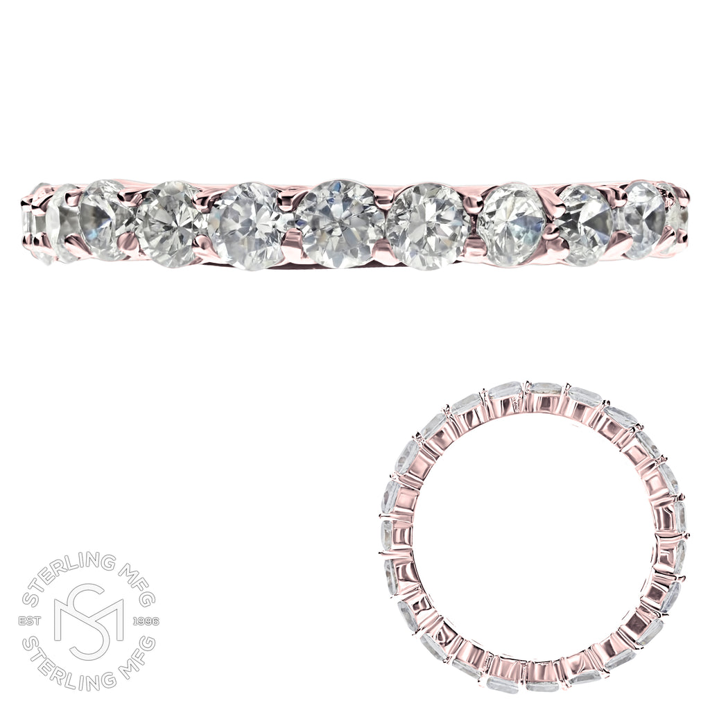 Rose Gold Plated Sterling Silver .925 C.Z Eternity Ring