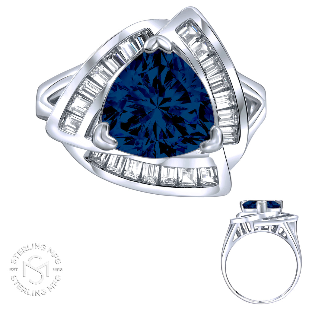 Sterling Silver .925 Blue C.Z Ring