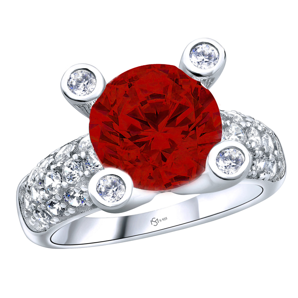 Sterling Silver .925 Red C.Z Ring