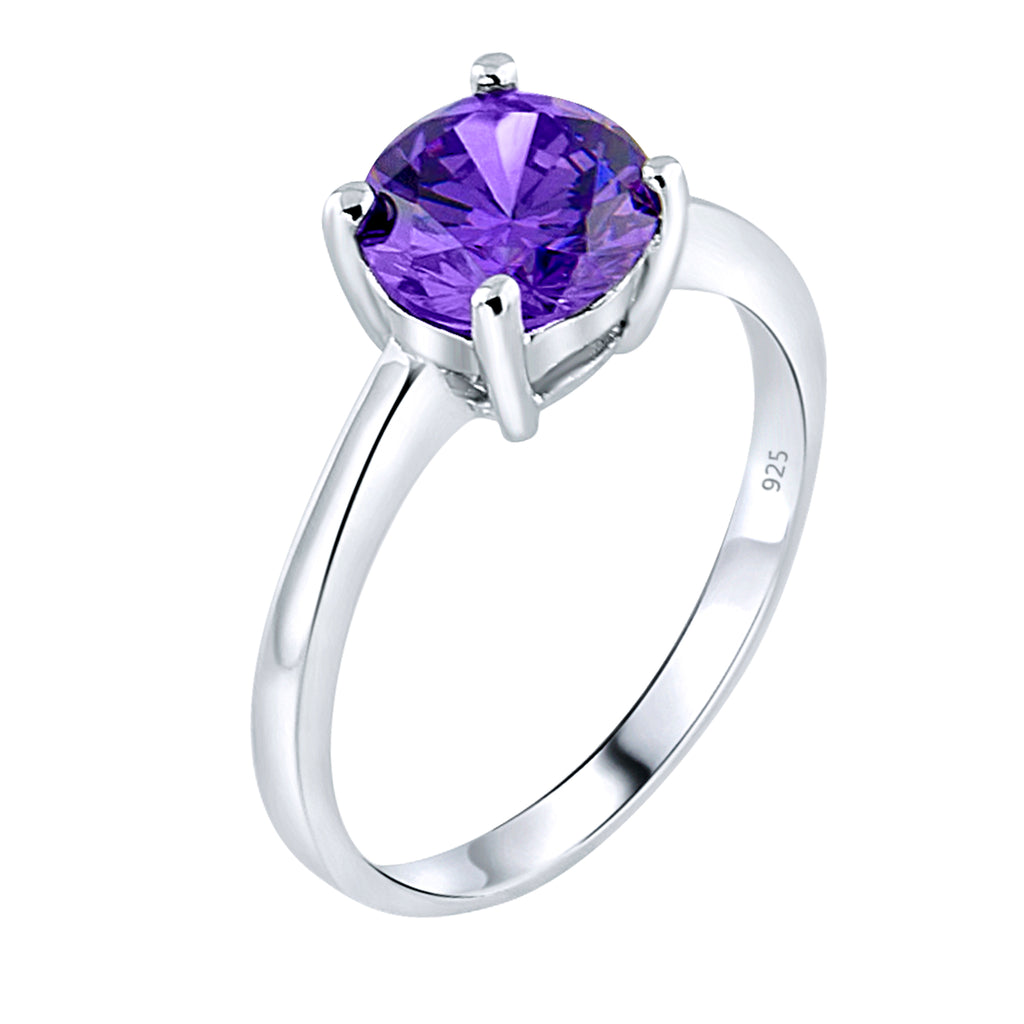 Sterling Silver .925 Purple C.Z Ring