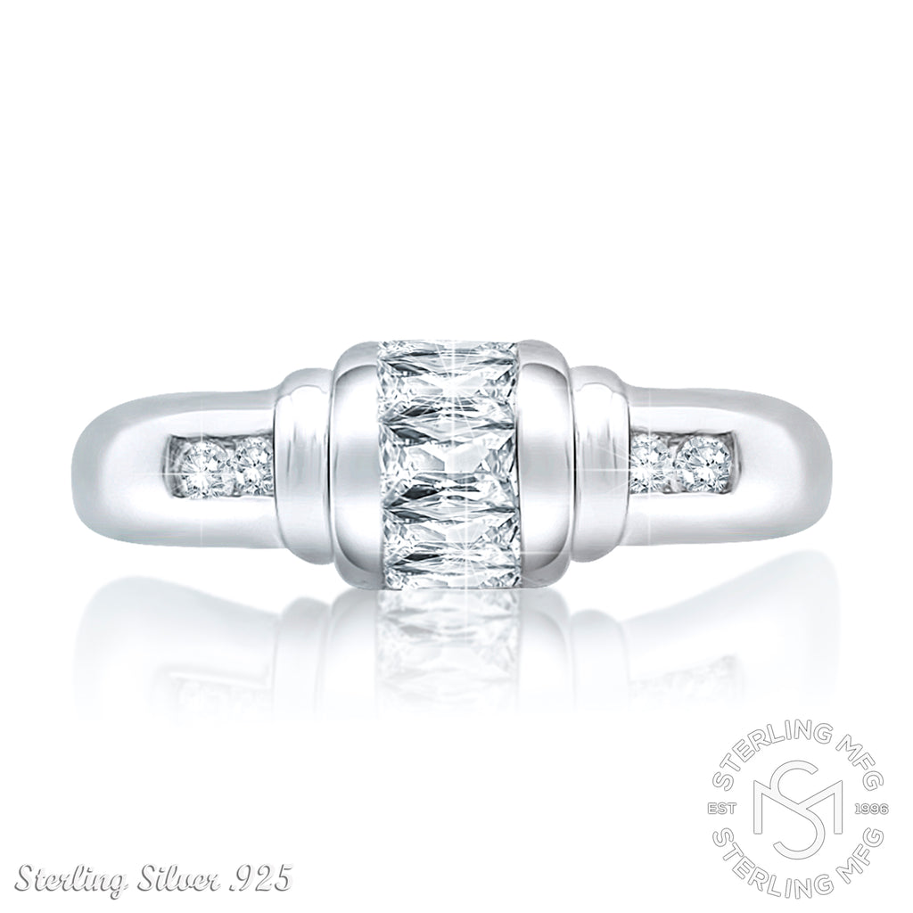 Sterling Silver .925 Clear C.Z Ring
