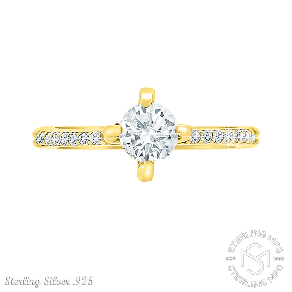 Gold Plated Sterling Silver .925 C.Z Engagement Ring
