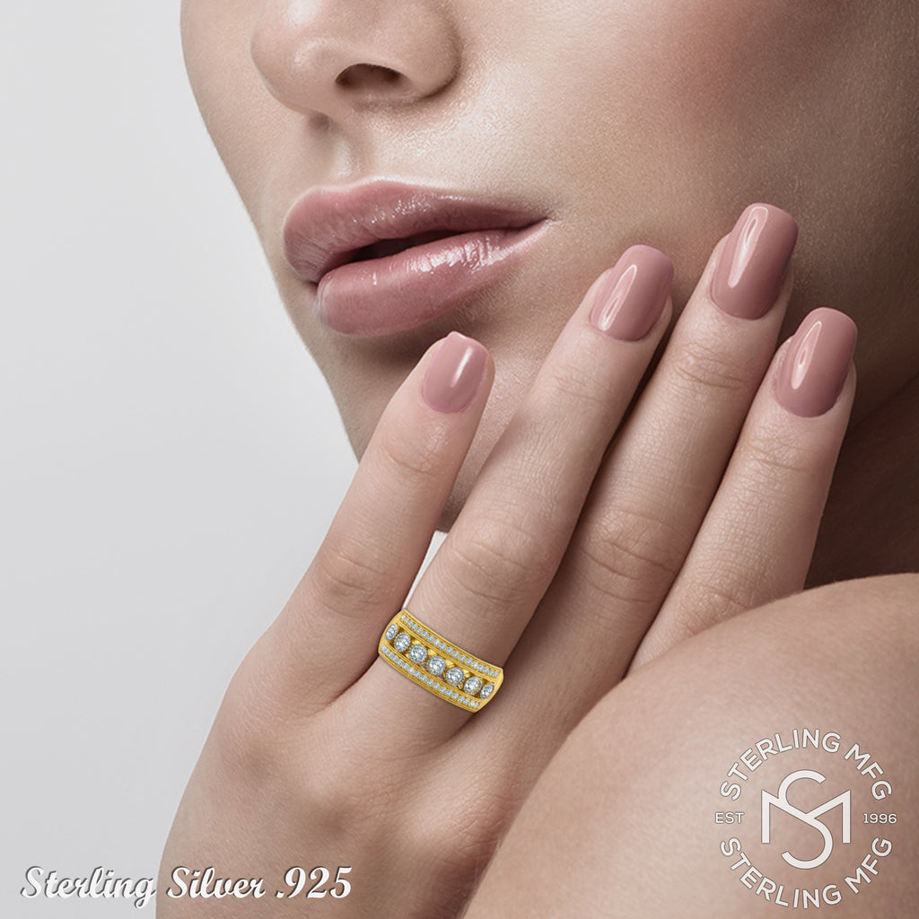 Gold Plated Sterling Silver .925 C.Z Ring