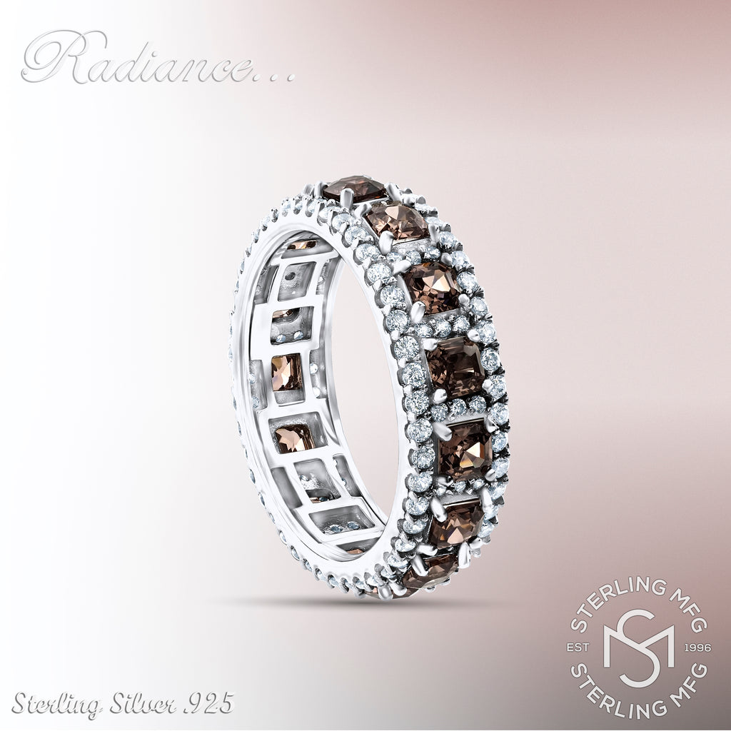 Sterling Silver .925 Chocolate Brown C.Z Eternity Ring