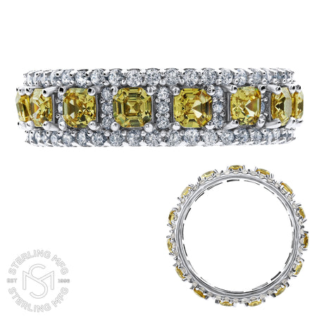 Sterling Silver .925 Yellow C.Z Eternity Ring