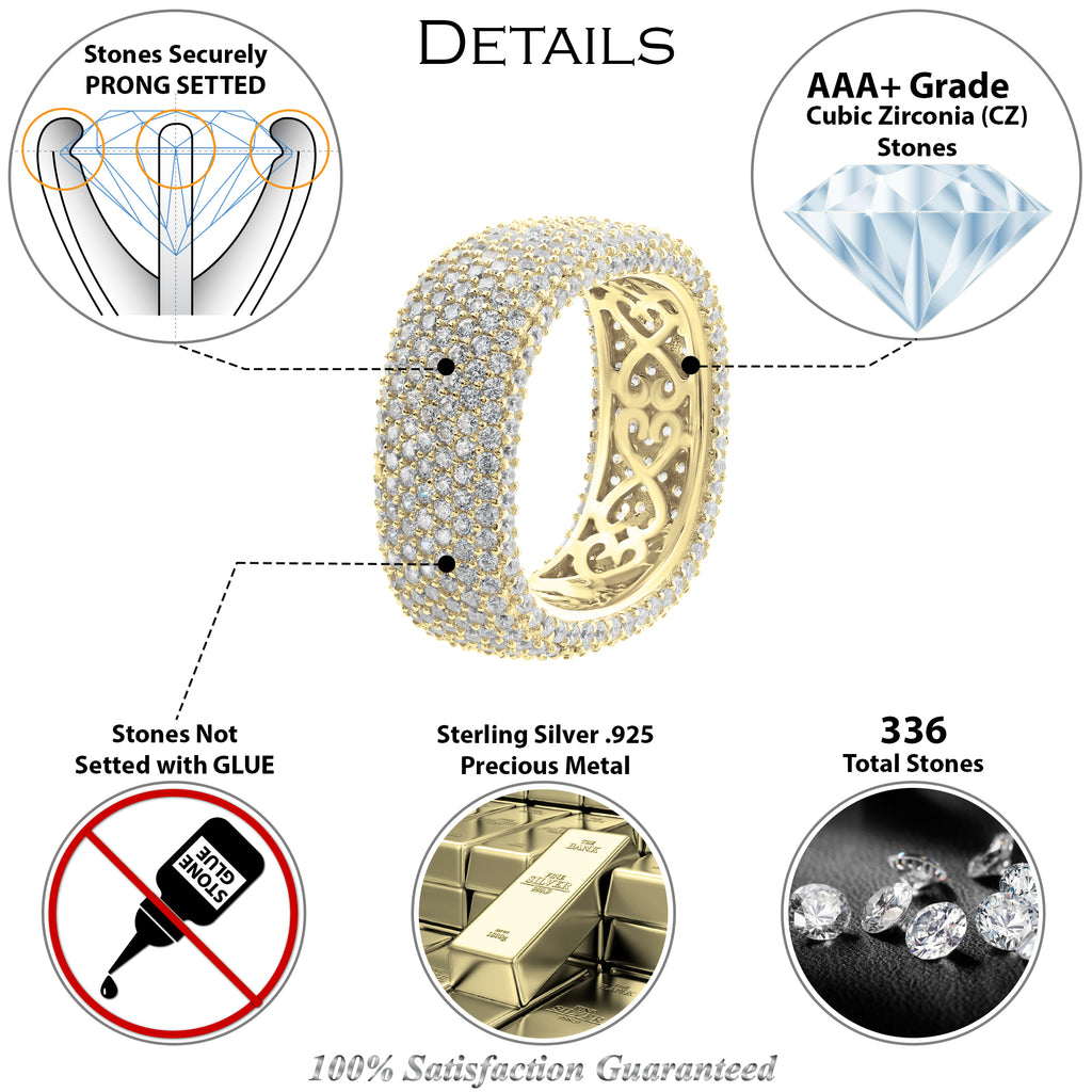 Gold Plated Sterling Silver .925 C.Z Round Corners Square Eternity Ring