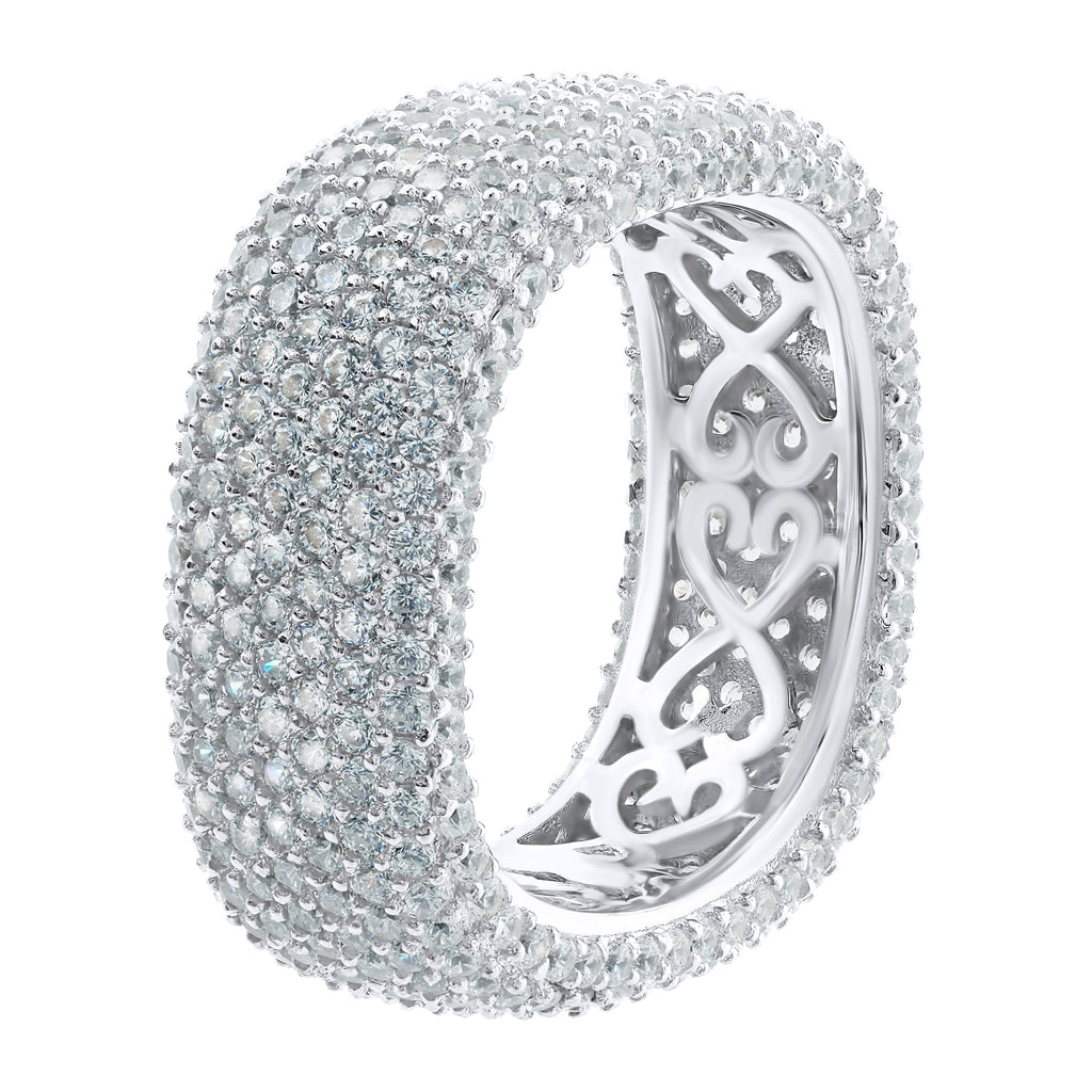 Sterling Silver .925 C.Z Round Corners Square Eternity Ring