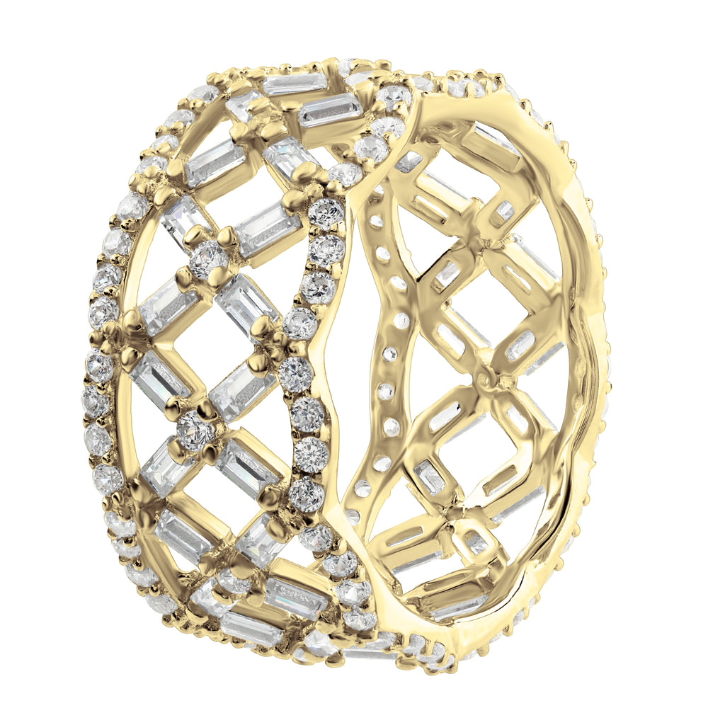 Gold Plated Sterling Silver .925 C.Z Lattice Design Eternity Ring