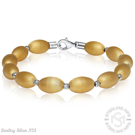 Gold Plated Sterling Silver .925 Brushed & Polished Oval Bead Bangle Bracelet
