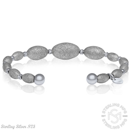 Sterling Silver .925 Brushed & Polished Sandblasted Stardust Oval Bead Bangle Bracelet