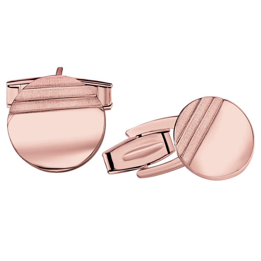 Sterling Silver .925 Round Cufflinks with Striped Satin Finish