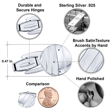 Sterling Silver .925 Oval Cufflinks with Striped Satin Finish