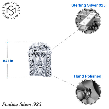 Sterling Silver .925 Jesus Face Cufflinks