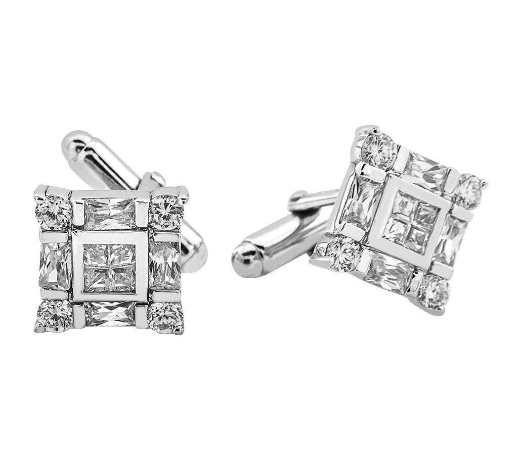 Sterling Silver .925 Square Cufflinks with Princess Cut CZ Stones
