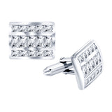 Men's Sterling Silver .925 Cufflinks with Cubic Zirconia CZ Stones, Platinum Plated, 18mm by 13mm.