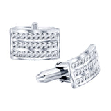 Sterling Silver .925 Rectangular Cufflinks with Baguette Cut CZ Stones