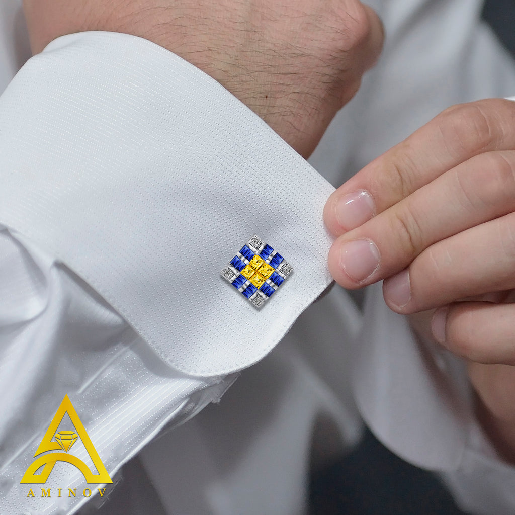 Sterling Silver .925 Yellow, White and Blue Square Cufflinks with CZ Stones