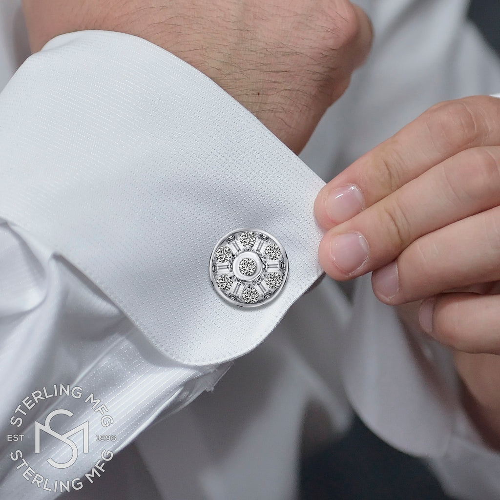 Sterling Silver .925 Large Round Cufflinks with CZ Stones