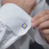 Sterling Silver .925 Square Cufflinks with Canary Yellow and Azure Blue CZ Stones