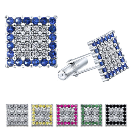 Sterling Silver .925 Square Cufflinks with White and Blue CZ Stones