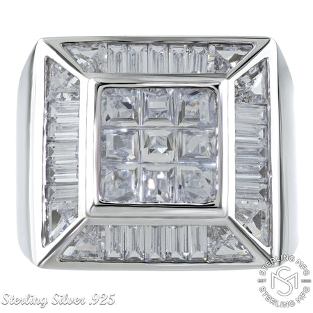 Sterling Silver .925 Square C.Z Ring