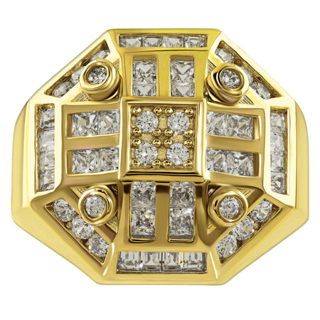 Gold Plated Sterling Silver .925 Octagon C.Z Ring