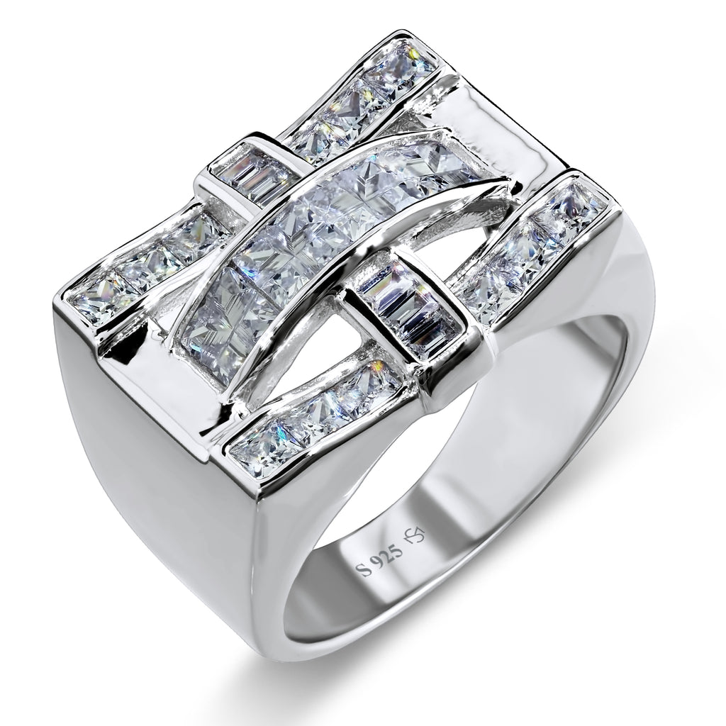 Sterling Silver .925 Criss Cross C.Z Ring