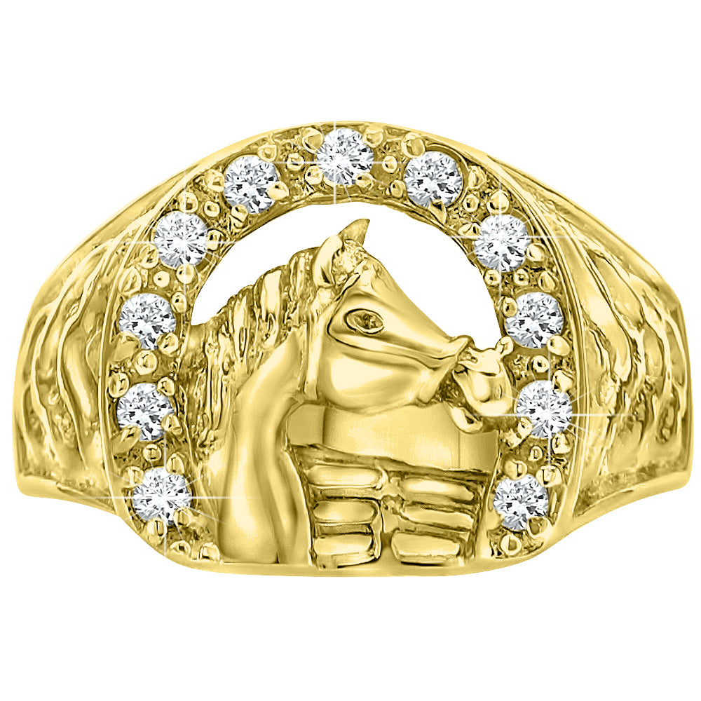 Sterling Silver .925 Micron Gold Plated C.Z Horse Ring