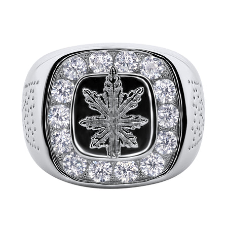 Sterling Silver .925 Cannabis Leaf C.Z Ring