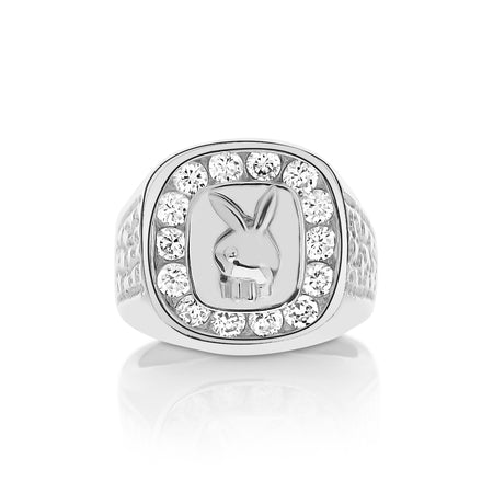 Sterling Silver .925 Bunny Head C.Z Ring