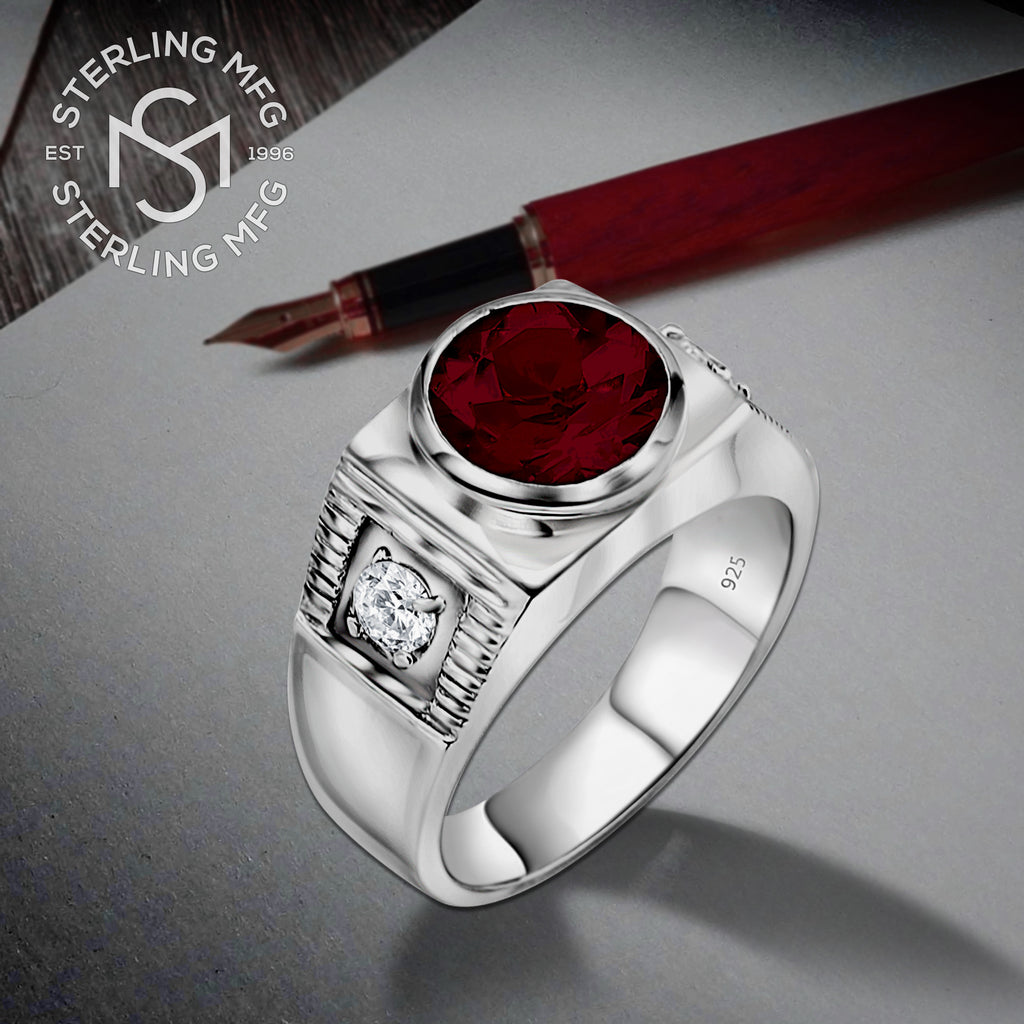 Sterling Silver .925 Red Center C.Z Stone Ring