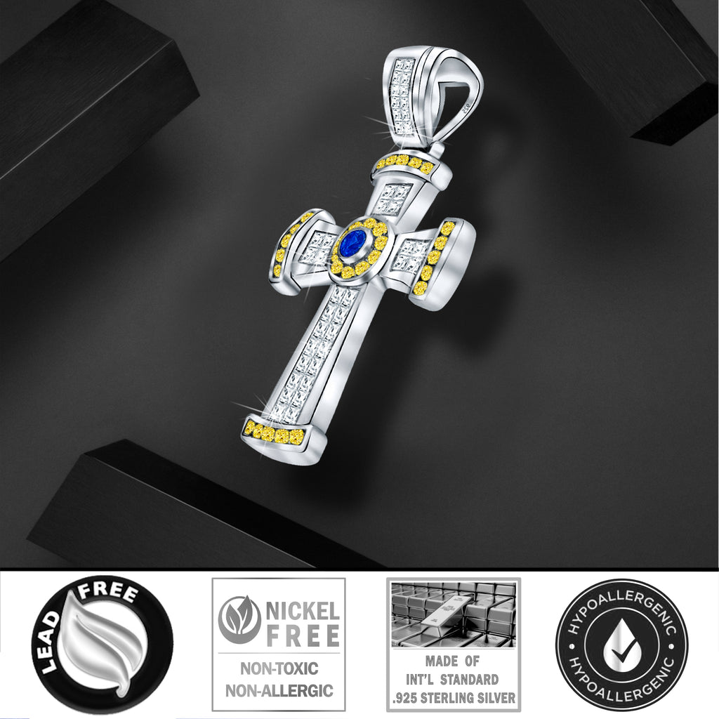Sterling Silver .925 Large Cross CZ Charm Pendant