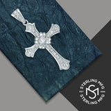 Sterling Silver .925 Large Cross C.Z Charm Pendant