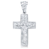Sterling Silver .925 Large Cross Crucifix CZ Charm