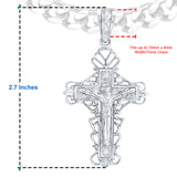 Sterling Silver .925 Large Cross Crucifix C.Z Charm Pendant