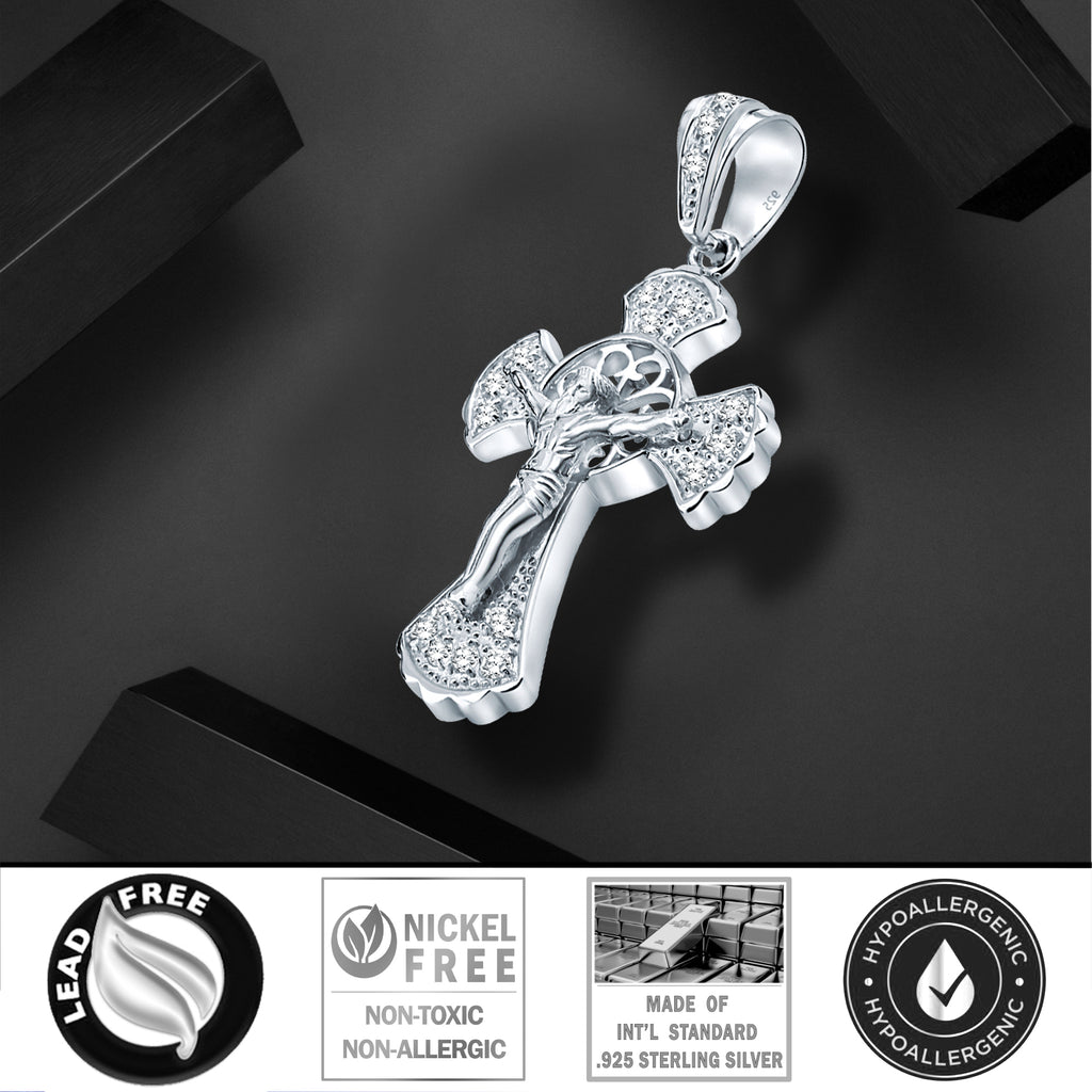 Sterling Silver .925 Large Crucifix C.Z Charm Pendant
