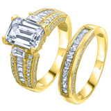 Sterling Silver .925 Micron Gold Plated Emerald Cut C.Z Duo 2 Piece Ring