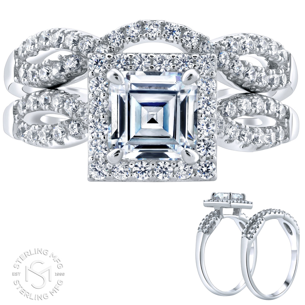 Sterling Silver .925 Asscher Cut C.Z Duo 2 Piece Ring