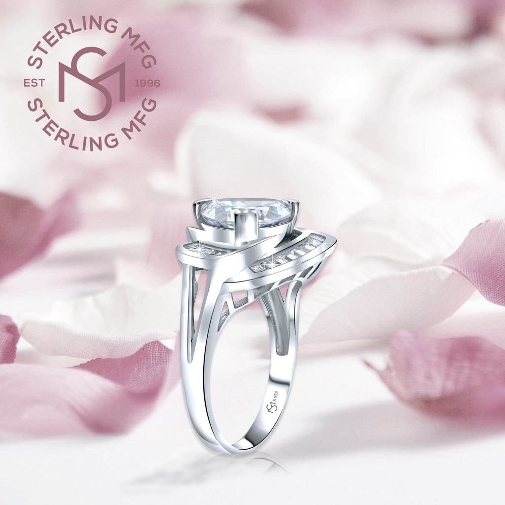 Sterling Silver .925 Trillion Cut Cocktail C.Z Ring
