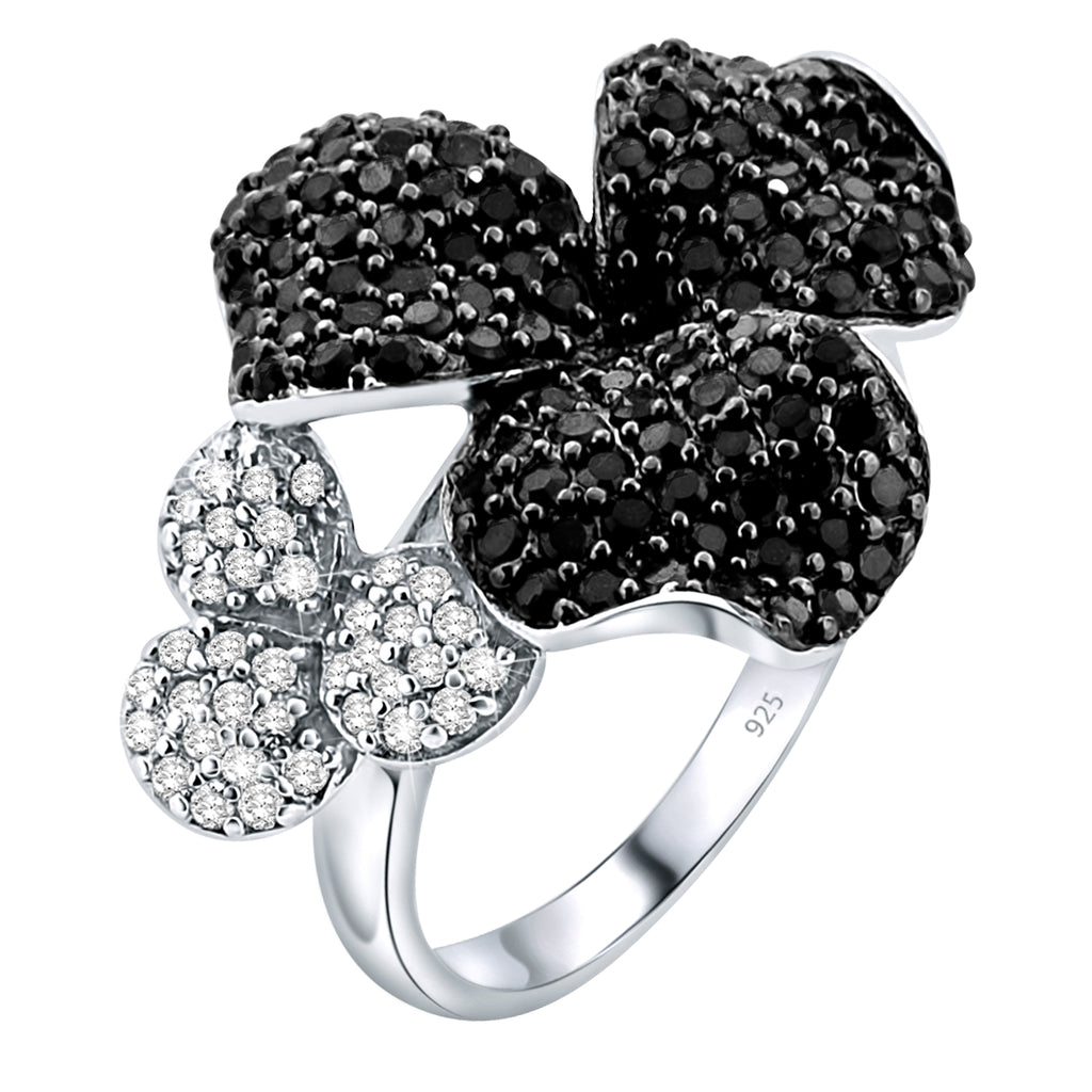 Sterling Silver .925 Black and Clear Flower C.Z Ring