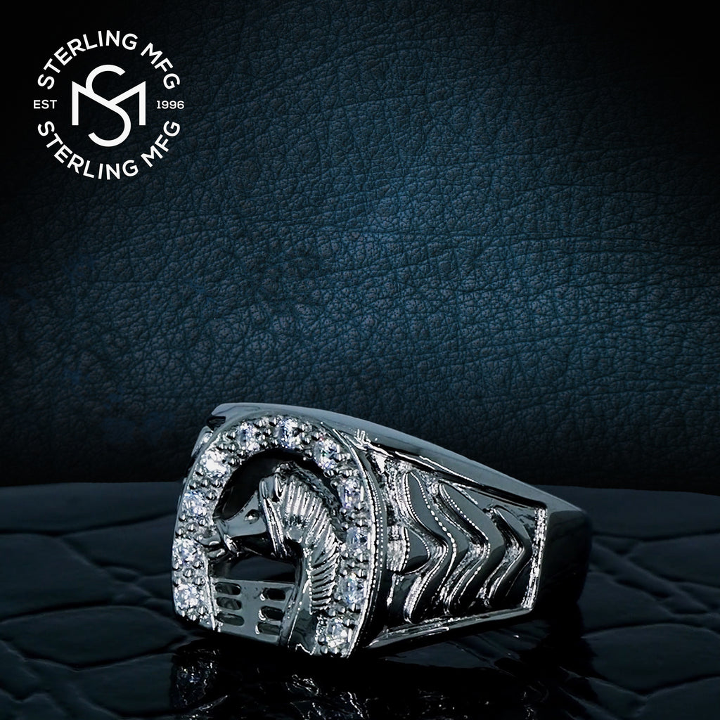 Sterling Silver .925 C.Z Horse Ring